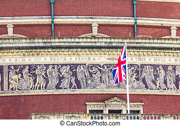 British flag on Royal Albert Hall background. London,  UK