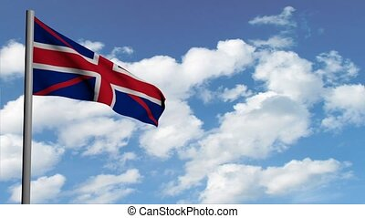 british flag on sky background with white clouds, computer 3d animation, render video