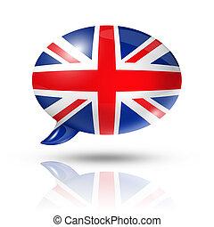 British flag speech bubble - three dimensional UK flag in a...