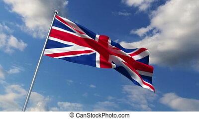 British flag waving against time-lapse clouds background