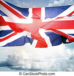 British flag - Union Jack flag in front of blue sky
