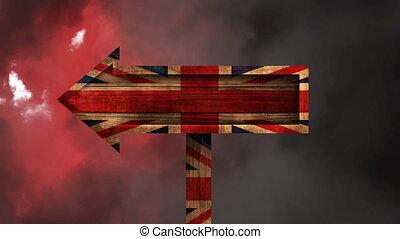 British Flag Video - British Flag on wooden arrow against ...