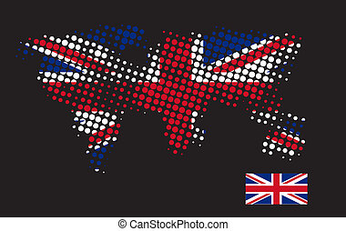 British flag with exact dimensions and halftone dot