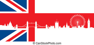 British flag with london skyline - Set of very detailed...
