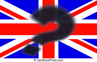 British flag with shadow of a question mark on top - Brexit concept - UK and England economy after Brexit