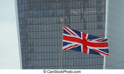 British flags in London. - British flag Union Jack on the ...