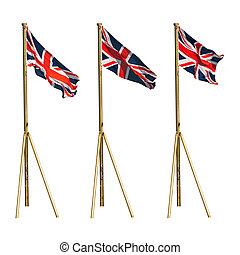 British flags isolated on white