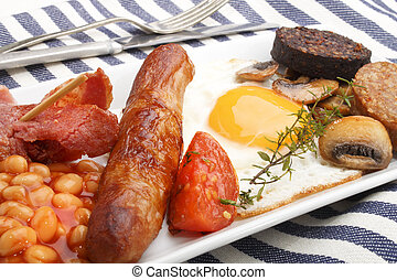 british full breakfast on a plate