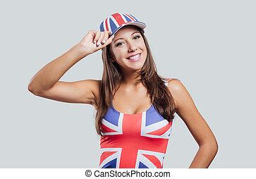 British girl smiling at camera - Smiling British girl...
