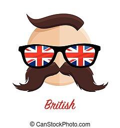 British hipster glasses moustache