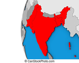British India on 3D globe