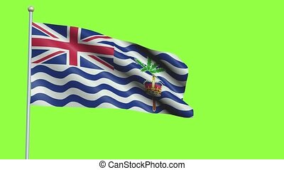British Indian Ocean Territory Flag in 3D render with green screen background in Slow Motion