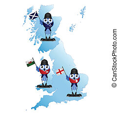British Isle map with comical patriotic birds