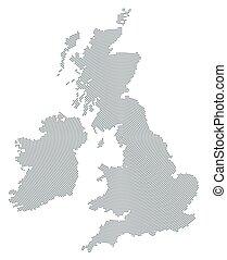 British Isles map gray radial dot pattern