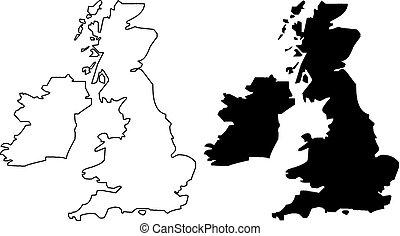 British Isles map vector