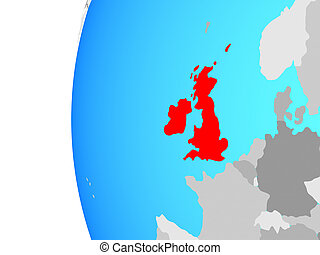 British Isles on blue political globe. 3D illustration.