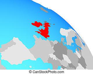 British Isles on simple blue political globe. 3D illustration.