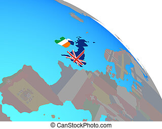 British Isles with national flags on simple blue political globe. 3D illustration.