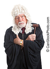 British Judge - Stern and Serious - British judge in a wig,...