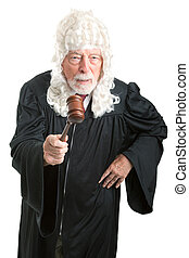 British Judge with Wig - Angry - Firm, angry British style...