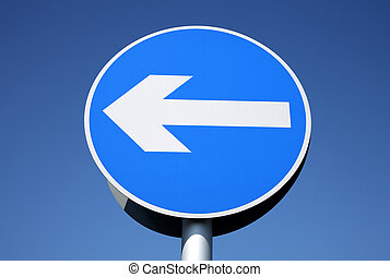 British left turn only one way sign.