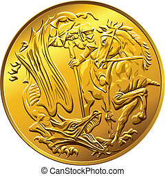 British money gold coin sovereign, with the image of St. George slaying the serpent, isolated on white background