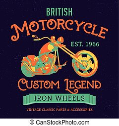 British Motorcycle Custom Legend Poster