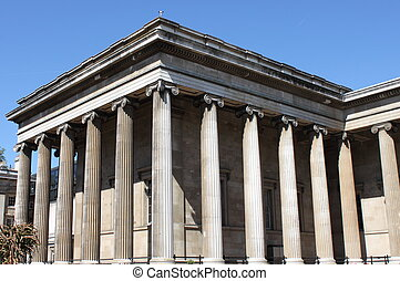 British Museum facade - Facade of British Museum in London,...