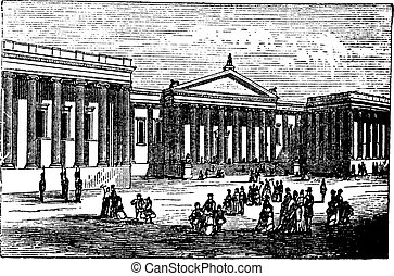 British Museum in London, United Kingdom (England), vintage engraving from 1890s