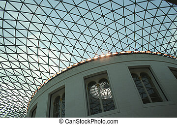 British Museum - The impressive lattice skylight in the...