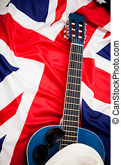 British musicians. Guitar lies on the flag of Britain