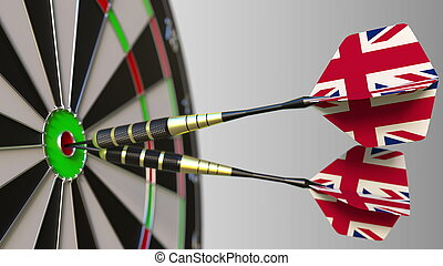 British national achievement. Flags of the United Kingdom on darts hitting bullseye. Conceptual 3D rendering