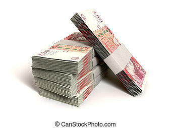 A stack of bundled one hundred british pound notes on an isolated background