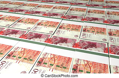 British One Hundred Pound Notes Laid Out - A laid out...