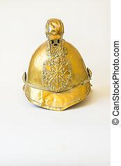 British Other Ranks Merryweather Brass Fire Helmet, front...