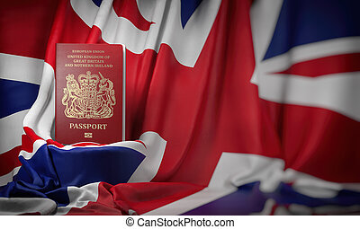 British passport on the flag of the UK United Kingdom. Getting a UK Great Britain passport,  naturalization and immigration concept.