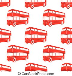british pattern with Double decker red bus.