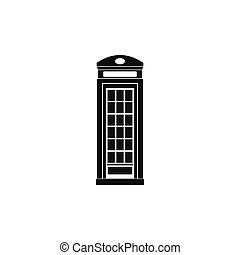 British phone booth icon, simple style