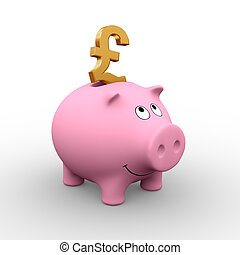 A golden Pound in a pink piggy bank (3D rendering) - A clipping path is embedded to isolate the subject (no shadow)