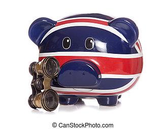 british piggy bank with opera glasses