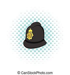 British police helmet icon, comics style