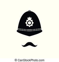 British policeman in helmet.