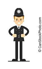 British policeman in uniform vector illustration
