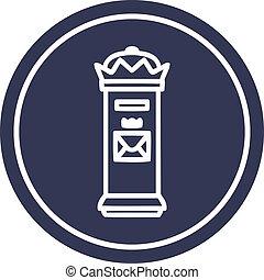 British postbox circular icon symbol