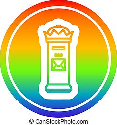 British postbox circular in rainbow spectrum - British ...