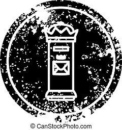 British postbox distressed icon symbol
