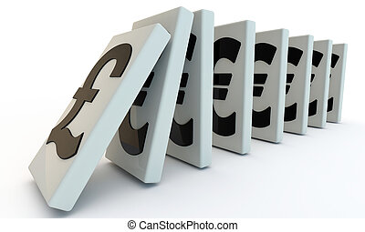 Domino with puond and euro, currency signs 3d render