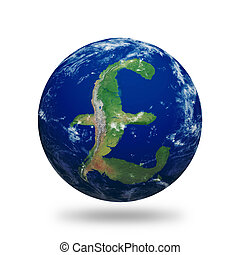 Planet Earth with British Pound sign shaped continents and clouds. Contains clipping path of planet. Clouds and land textures from