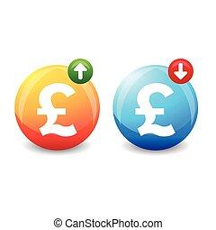 British pound exchange rate sign vector
