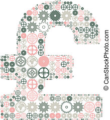 British pound sign made of colored gears.